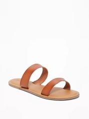 cognac double strap sandals