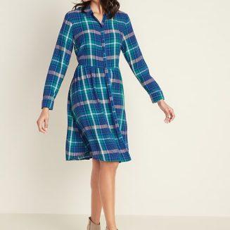 Blue Plaid Button Down Dress